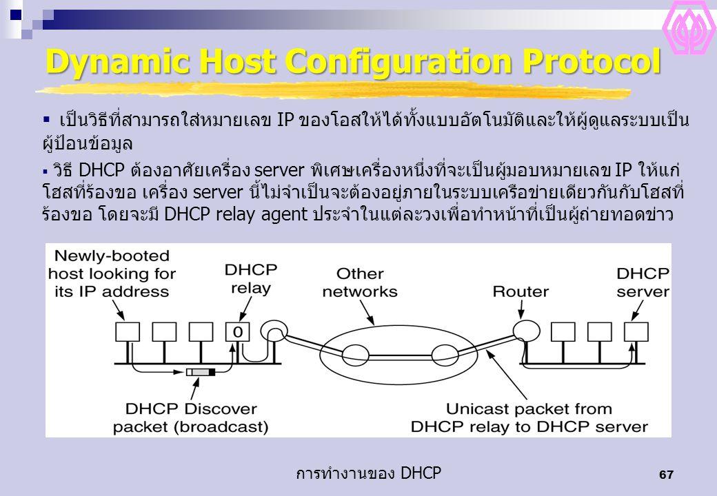 67 Dynamic Host Configuration Protocol การทำงานของ DHCP  เป็นวิธีที่สามารถใส่หมายเลข IP ของโอสให้ได้ทั้งแบบอัตโนมัติและให้ผู้ดูแลระบบเป็น ผู้ป้อนข้อมูล  วิธี DHCP ต้องอาศัยเครื่อง server พิเศษเครื่องหนึ่งที่จะเป็นผู้มอบหมายเลข IP ให้แก่ โฮสที่ร้องขอ เครื่อง server นี้ไม่จำเป็นจะต้องอยู่ภายในระบบเครือข่ายเดียวกันกับโฮสที่ ร้องขอ โดยจะมี DHCP relay agent ประจำในแต่ละวงเพื่อทำหน้าที่เป็นผู้ถ่ายทอดข่าว
