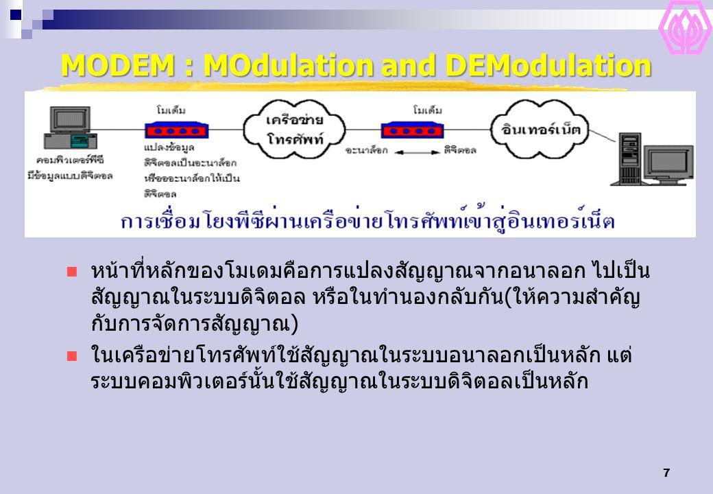 7 MODEM : MOdulation and DEModulation หน้าที่หลักของโมเดมคือการแปลงสัญญาณจากอนาลอก ไปเป็น สัญญาณในระบบดิจิตอล หรือในทำนองกลับกัน(ให้ความสำคัญ กับการจัดการสัญญาณ) ในเครือข่ายโทรศัพท์ใช้สัญญาณในระบบอนาลอกเป็นหลัก แต่ ระบบคอมพิวเตอร์นั้นใช้สัญญาณในระบบดิจิตอลเป็นหลัก