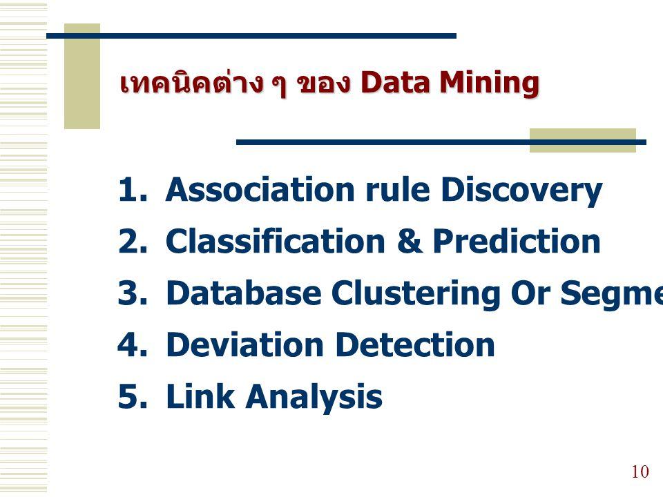 เทคนิคต่าง ๆ ของ Data Mining 10 1. Association rule Discovery 2. Classification & Prediction 3. Database Clustering Or Segmentation 4. Deviation Detec