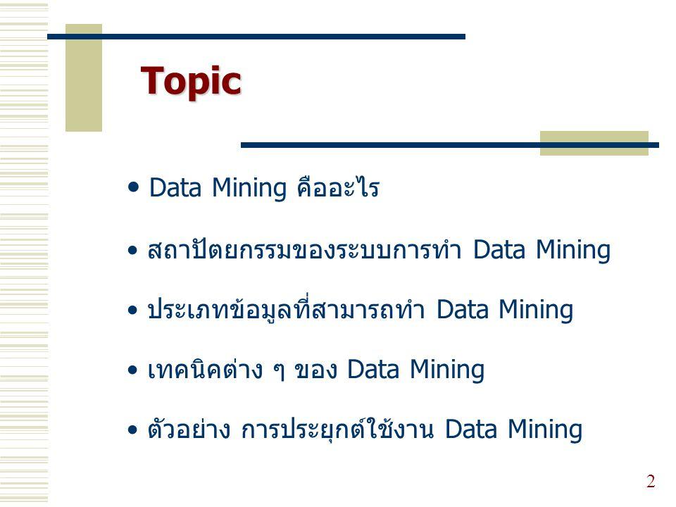 Topic Data Mining คืออะไร สถาปัตยกรรมของระบบการทำ Data Mining ประเภทข้อมูลที่สามารถทำ Data Mining เทคนิคต่าง ๆ ของ Data Mining ตัวอย่าง การประยุกต์ใช้