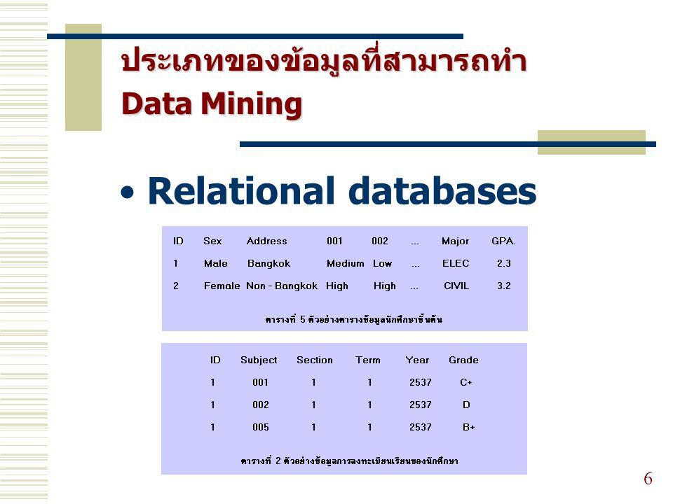 ประเภทของข้อมูลที่สามารถทำ Data Mining 6 Relational databases