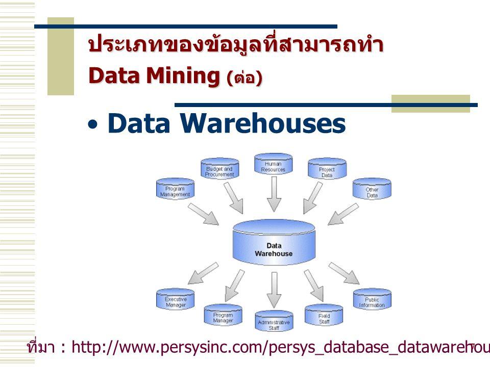ประเภทของข้อมูลที่สามารถทำ Data Mining (ต่อ) 8 Transactional databases - ใบเสร็จรับเงิน