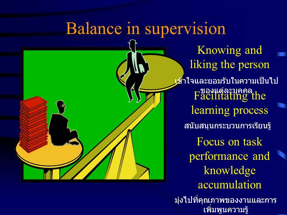 Balance in supervision Knowing and liking the person Facilitating the learning process Focus on task performance and knowledge accumulation มุ่งไปที่คุณภาพของงานและการ เพิ่มพูนความรู้ สนับสนุนกระบวนการเรียนรู้ เข้าใจและยอมรับในความเป็นไป ของแต่ละบุคคล