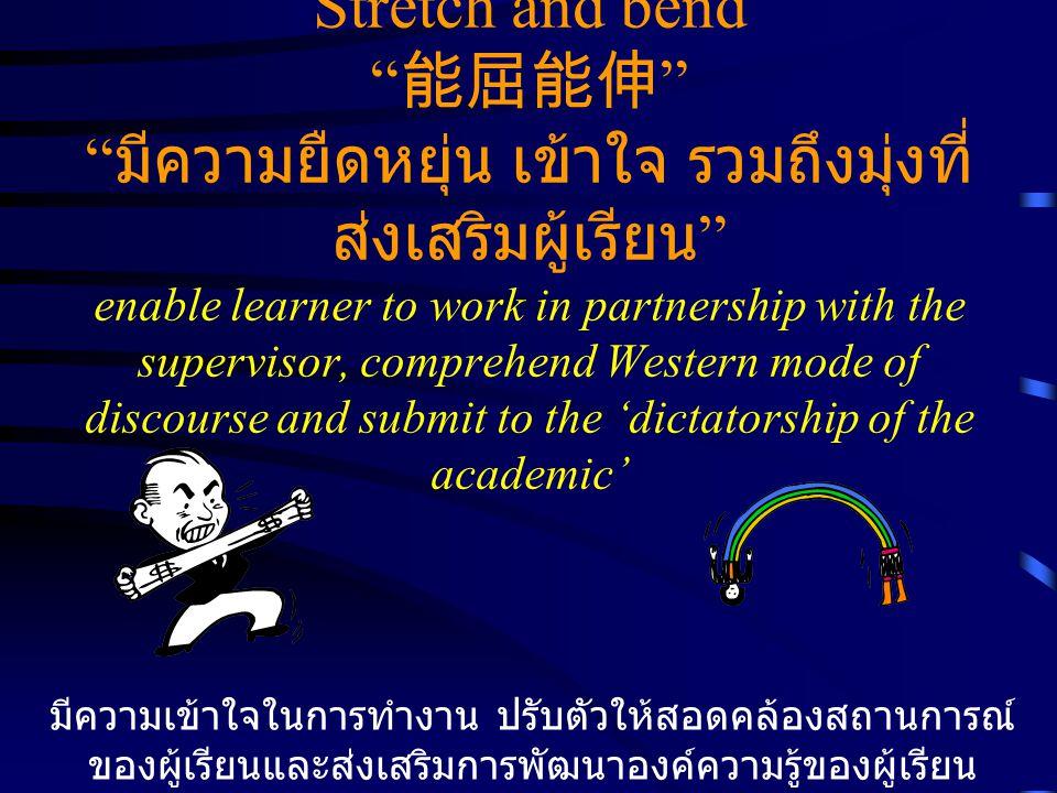 Stretch and bend 能屈能伸 มีความยืดหยุ่น เข้าใจ รวมถึงมุ่งที่ ส่งเสริมผู้เรียน enable learner to work in partnership with the supervisor, comprehend Western mode of discourse and submit to the 'dictatorship of the academic' มีความเข้าใจในการทำงาน ปรับตัวให้สอดคล้องสถานการณ์ ของผู้เรียนและส่งเสริมการพัฒนาองค์ความรู้ของผู้เรียน