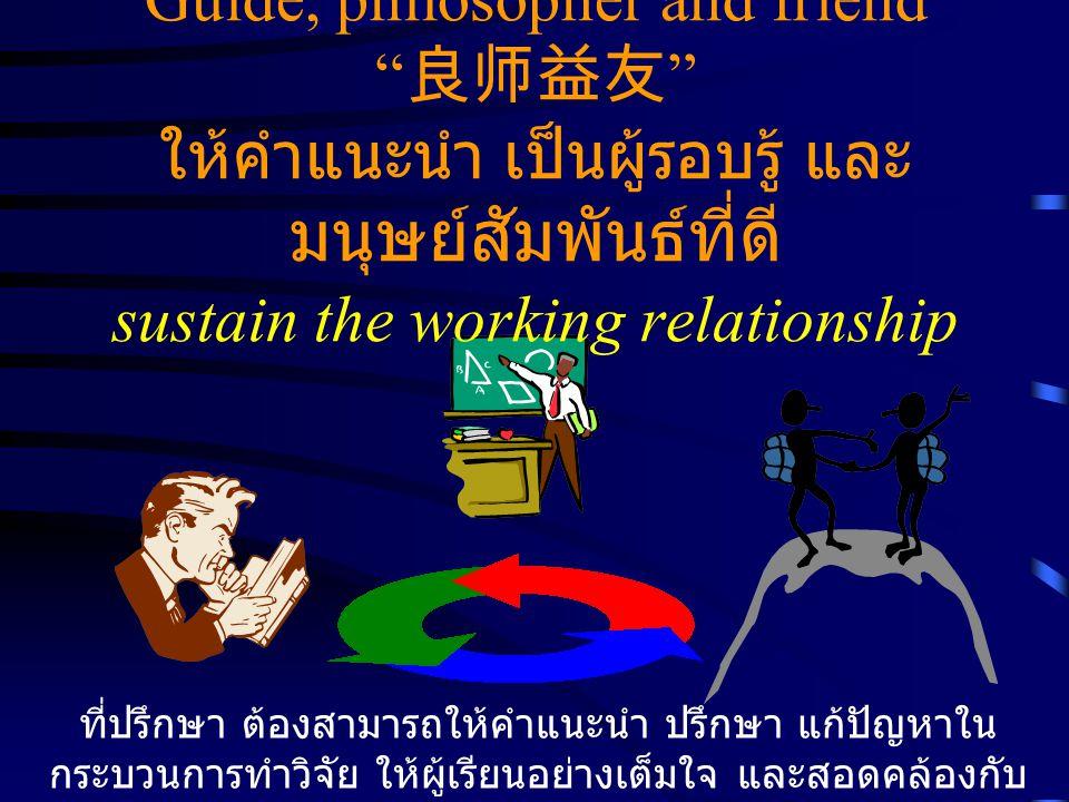 Guide, philosopher and friend 良师益友 ให้คำแนะนำ เป็นผู้รอบรู้ และ มนุษย์สัมพันธ์ที่ดี sustain the working relationship ที่ปรึกษา ต้องสามารถให้คำแนะนำ ปรึกษา แก้ปัญหาใน กระบวนการทำวิจัย ให้ผู้เรียนอย่างเต็มใจ และสอดคล้องกับ ความเป็นจริง