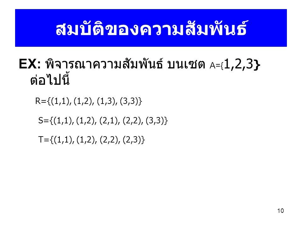 10 สมบัติของความสัมพันธ์ EX: พิจารณาความสัมพันธ์ บนเซต A={ 1,2,3 } ต่อไปนี้ R={(1,1), (1,2), (1,3), (3,3)} S={(1,1), (1,2), (2,1), (2,2), (3,3)} T={(1