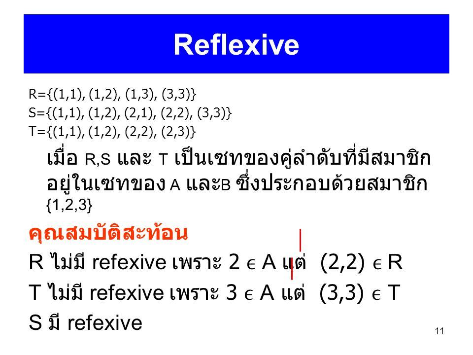 11 Reflexive R={(1,1), (1,2), (1,3), (3,3)} S={(1,1), (1,2), (2,1), (2,2), (3,3)} T={(1,1), (1,2), (2,2), (2,3)} เมื่อ R,S และ T เป็นเซทของคู่ลำดับที่