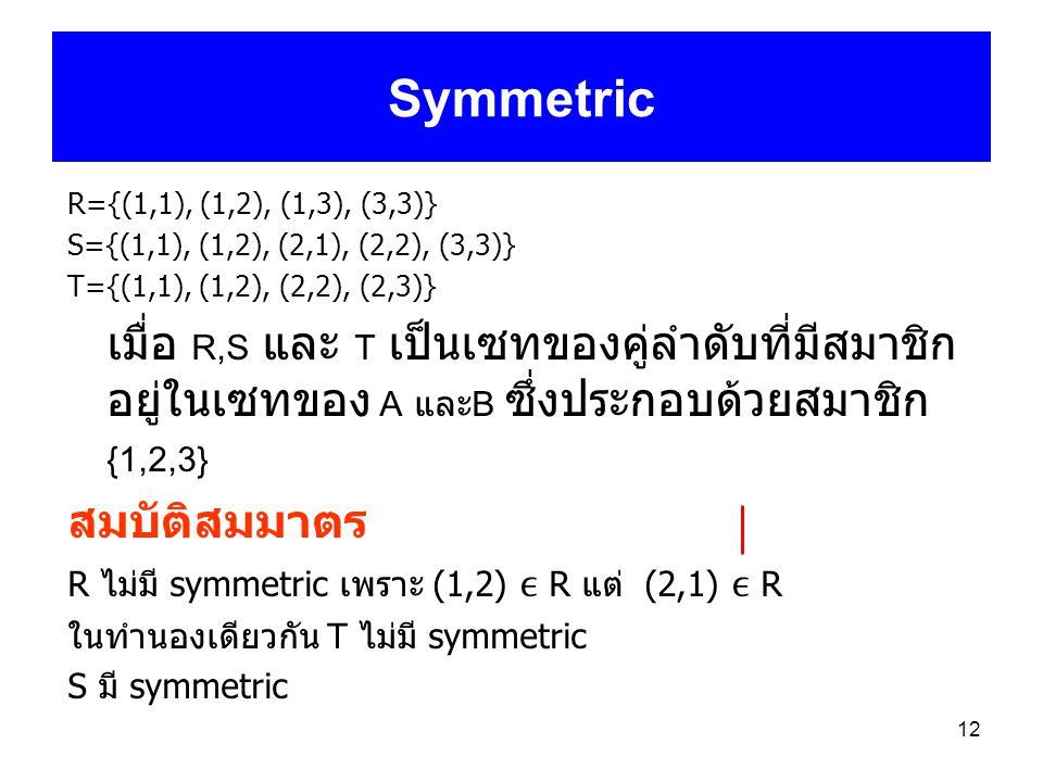 12 Symmetric R={(1,1), (1,2), (1,3), (3,3)} S={(1,1), (1,2), (2,1), (2,2), (3,3)} T={(1,1), (1,2), (2,2), (2,3)} เมื่อ R,S และ T เป็นเซทของคู่ลำดับที่