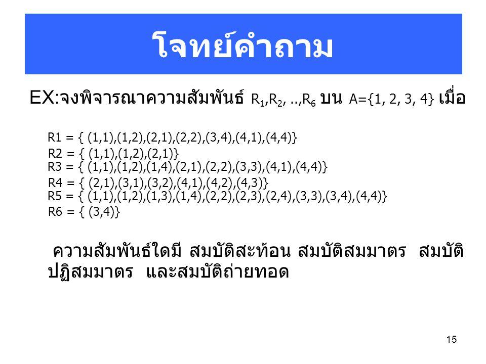 15 EX: จงพิจารณาความสัมพันธ์ R 1,R 2,..,R 6 บน A={1, 2, 3, 4} เมื่อ R1 = { (1,1),(1,2),(2,1),(2,2),(3,4),(4,1),(4,4)} R2 = { (1,1),(1,2),(2,1)} R3 = {
