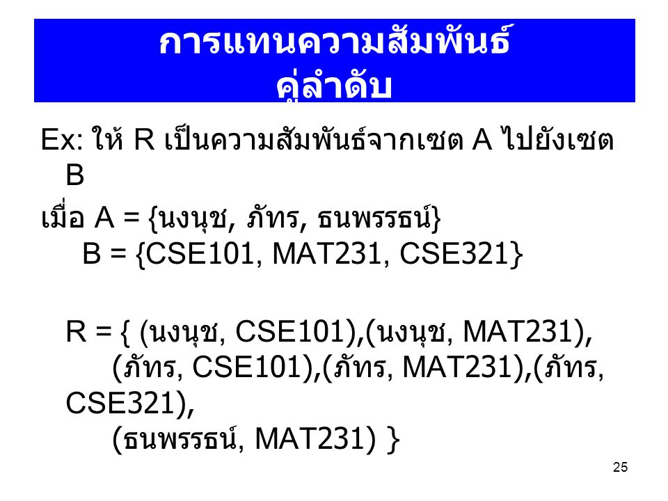 25 Ex: ให้ R เป็นความสัมพันธ์จากเซต A ไปยังเซต B เมื่อ A = { นงนุช, ภัทร, ธนพรรธน์ } B = {CSE101, MAT231, CSE321} R = { ( นงนุช, CSE101),( นงนุช, MAT2