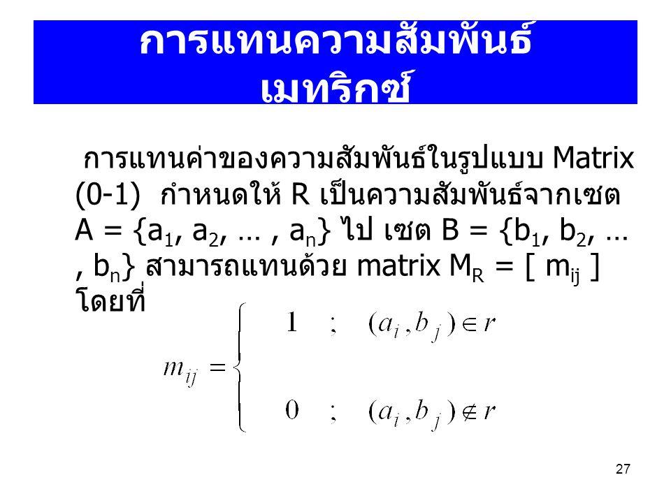 27 การแทนความสัมพันธ์ เมทริกซ์ การแทนค่าของความสัมพันธ์ในรูปแบบ Matrix (0-1) กำหนดให้ R เป็นความสัมพันธ์จากเซต A = {a 1, a 2, …, a n } ไป เซต B = {b 1
