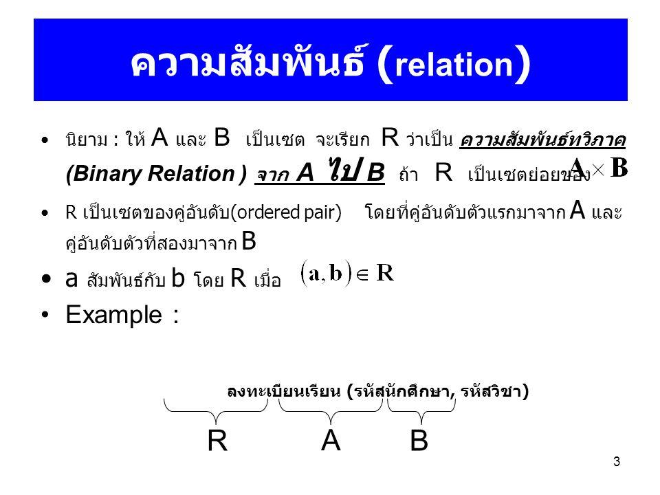 3 ความสัมพันธ์ ( relation ) นิยาม : ให้ A และ B เป็นเซต จะเรียก R ว่าเป็น ความสัมพันธ์ทวิภาค (Binary Relation ) จาก A ไป B ถ้า R เป็นเซตย่อยของ R เป็น