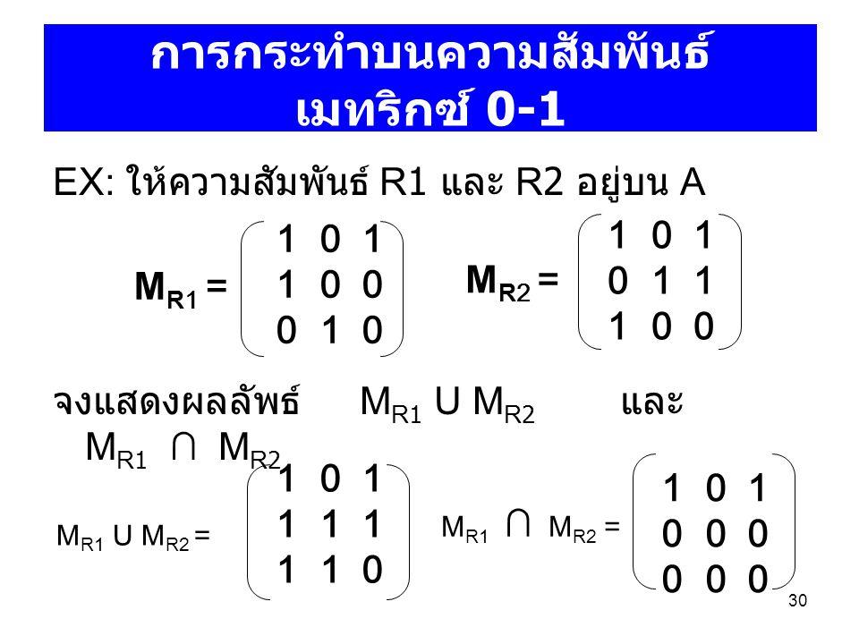 30 การกระทำบนความสัมพันธ์ เมทริกซ์ 0-1 EX: ให้ความสัมพันธ์ R1 และ R2 อยู่บน A จงแสดงผลลัพธ์ M R1 U M R2 และ M R1 ∩ M R2 1 0 1 1 0 0 0 1 0 1 0 1 0 1 1