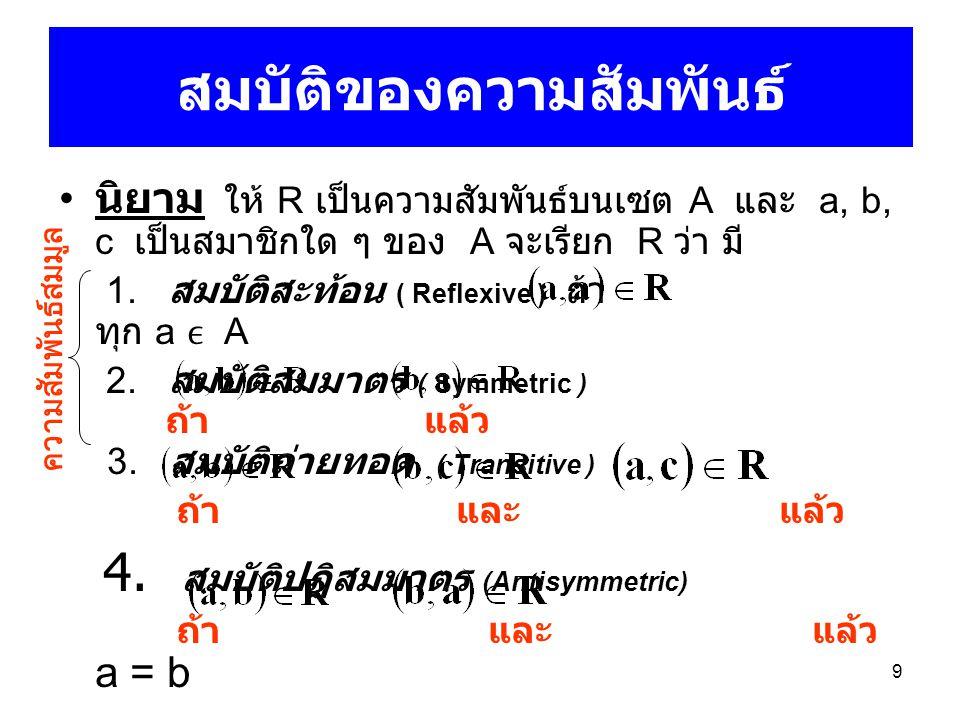 9 สมบัติของความสัมพันธ์ นิยาม ให้ R เป็นความสัมพันธ์บนเซต A และ a, b, c เป็นสมาชิกใด ๆ ของ A จะเรียก R ว่า มี 1. สมบัติสะท้อน ( Reflexive ) ถ้า ทุก a