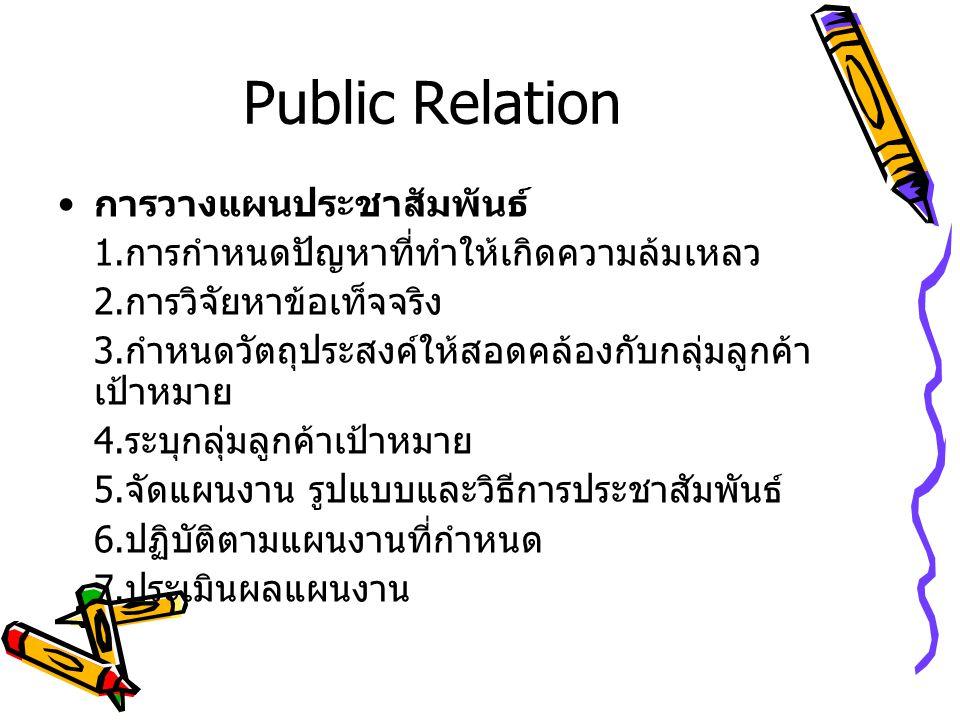 Public Relation การวางแผนประชาสัมพันธ์ 1. การกำหนดปัญหาที่ทำให้เกิดความล้มเหลว 2. การวิจัยหาข้อเท็จจริง 3. กำหนดวัตถุประสงค์ให้สอดคล้องกับกลุ่มลูกค้า