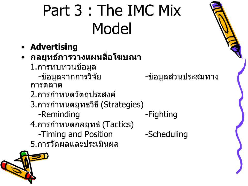 Part 3 : The IMC Mix Model Advertising กลยุทธ์การวางแผนสื่อโฆษณา 1. การทบทวนข้อมูล - ข้อมูลจากการวิจัย - ข้อมูลส่วนประสมทาง การตลาด 2. การกำหนดวัตถุปร