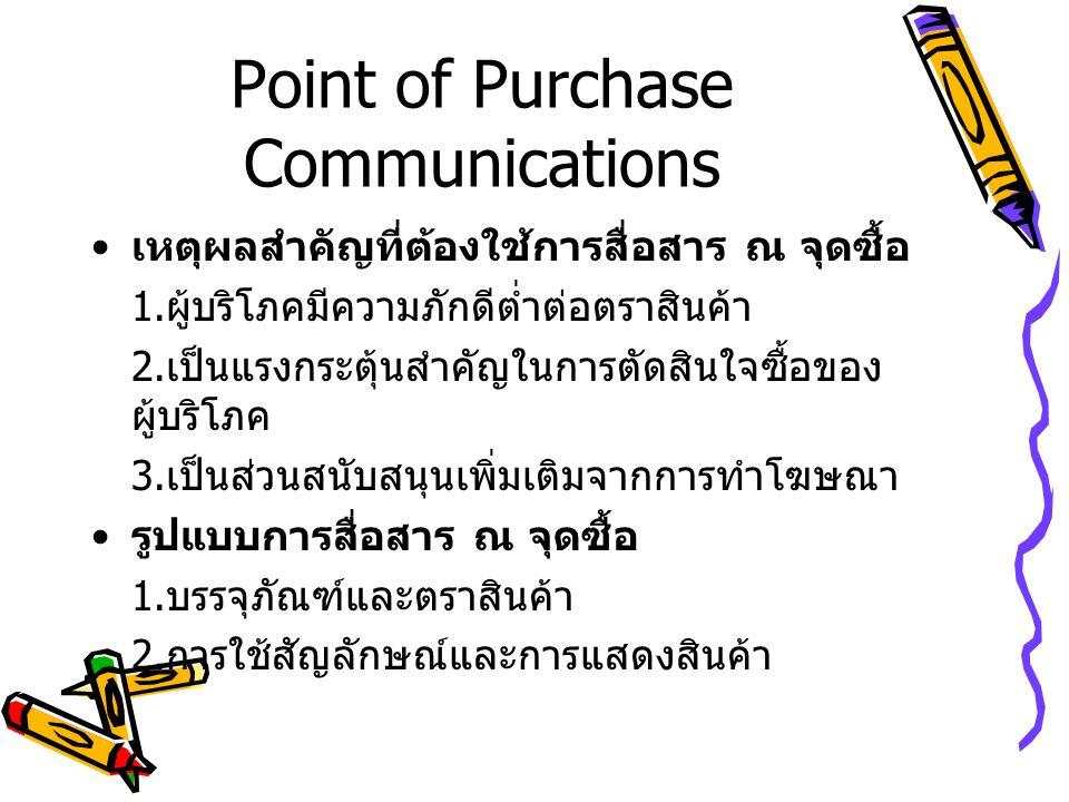 Point of Purchase Communications เหตุผลสำคัญที่ต้องใช้การสื่อสาร ณ จุดซื้อ 1.