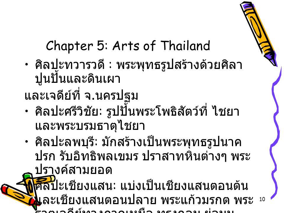 10 Chapter 5: Arts of Thailand ศิลปะทวารวดี : พระพุทธรูปสร้างด้วยศิลา ปูนปั้นและดินเผา และเจดีย์ที่ จ. นครปฐม ศิลปะศรีวิชัย : รูปปั้นพระโพธิสัตว์ที่ ไ