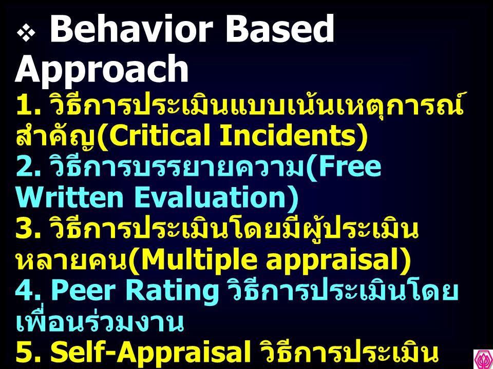  Behavior Based Approach 1.วิธีการประเมินแบบเน้นเหตุการณ์ สำคัญ (Critical Incidents) 2.