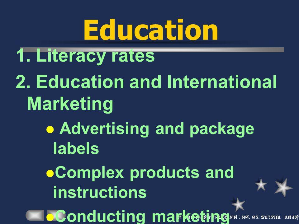 การตลาดระหว่างประเทศ : ผศ. ดร. ธนวรรณ แสงสุวรรณ Education 1. Literacy rates 2. Education and International Marketing Advertising and package labels Co