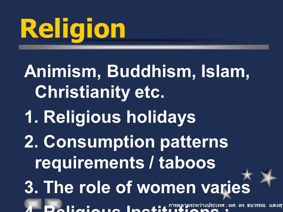 การตลาดระหว่างประเทศ : ผศ. ดร. ธนวรรณ แสงสุวรรณ Religion Animism, Buddhism, Islam, Christianity etc. 1. Religious holidays 2. Consumption patterns req