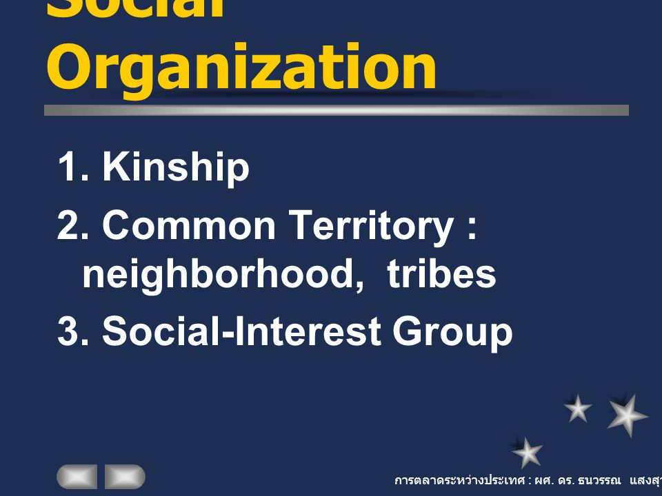การตลาดระหว่างประเทศ : ผศ. ดร. ธนวรรณ แสงสุวรรณ Social Organization 1. Kinship 2. Common Territory : neighborhood, tribes 3. Social-Interest Group