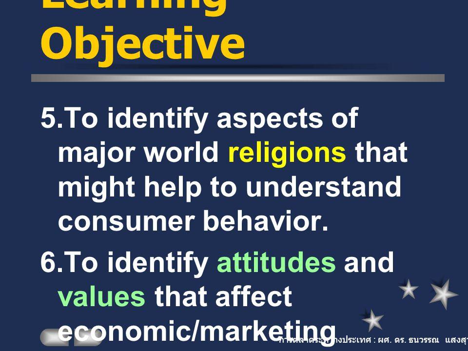 การตลาดระหว่างประเทศ : ผศ. ดร. ธนวรรณ แสงสุวรรณ Learning Objective 5.To identify aspects of major world religions that might help to understand consum