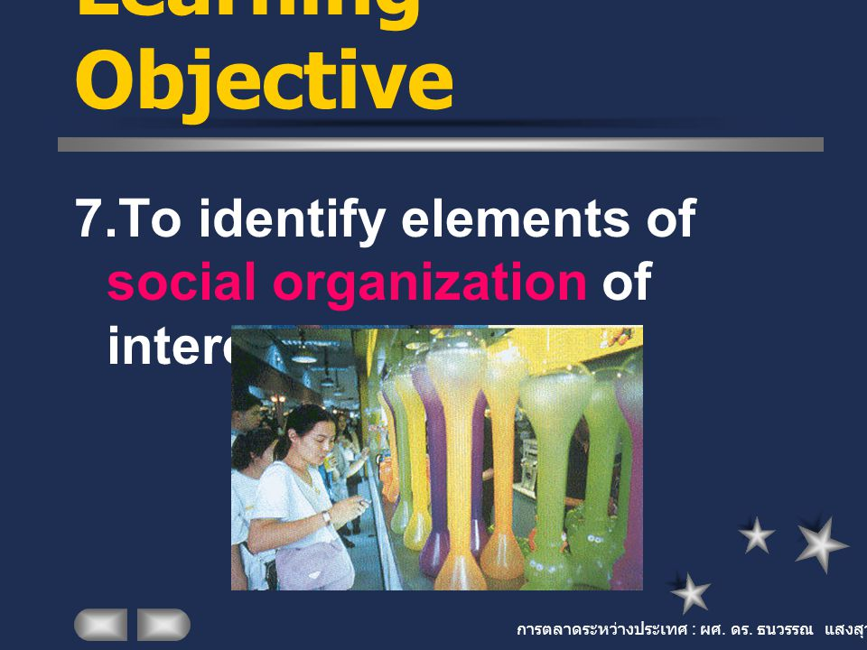 การตลาดระหว่างประเทศ : ผศ. ดร. ธนวรรณ แสงสุวรรณ Learning Objective 7.To identify elements of social organization of interest to marketing.