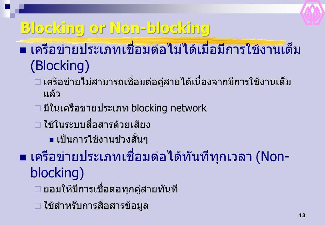 13 Blocking or Non-blocking เครือข่ายประเภทเชื่อมต่อไม่ได้เมื่อมีการใช้งานเต็ม (Blocking)  เครือข่ายไม่สามารถเชื่อมต่อคู่สายได้เนื่องจากมีการใช้งานเต็ม แล้ว  มีในเครือข่ายประเภท blocking network  ใช้ในระบบสื่อสารด้วยเสียง เป็นการใช้งานช่วงสั้นๆ เครือข่ายประเภทเชื่อมต่อได้ทันทีทุกเวลา (Non- blocking)  ยอมให้มีการเชื่อต่อทุกคู่สายทันที  ใช้สำหรับการสื่อสารข้อมูล