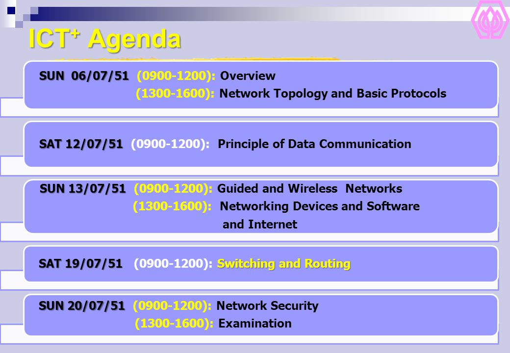 ICT + Agenda SUN 06/07/51 SUN 06/07/51 (0900-1200): Overview (1300-1600): Network Topology and Basic Protocols SAT12/07/51 SAT 12/07/51 (0900-1200): Principle of Data Communication SUN 13/07/51 SUN 13/07/51 (0900-1200): Guided and Wireless Networks (1300-1600): Networking Devices and Software and Internet SAT 19/07/51Switching and Routing SAT 19/07/51 (0900-1200): Switching and Routing SUN 20/07/51 SUN 20/07/51 (0900-1200): Network Security (1300-1600): Examination