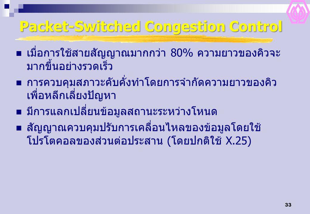 33 Packet-Switched Congestion Control เมื่อการใช้สายสัญญาณมากกว่า 80% ความยาวของคิวจะ มากขึ้นอย่างรวดเร็ว การควบคุมสภาวะคับคั่งทำโดยการจำกัดความยาวของคิว เพื่อหลีกเลี่ยงปัญหา มีการแลกเปลี่ยนข้อมูลสถานะระหว่างโหนด สัญญาณควบคุมปรับการเคลื่อนไหลของข้อมูลโดยใช้ โปรโตคอลของส่วนต่อประสาน (โดยปกติใช้ X.25)