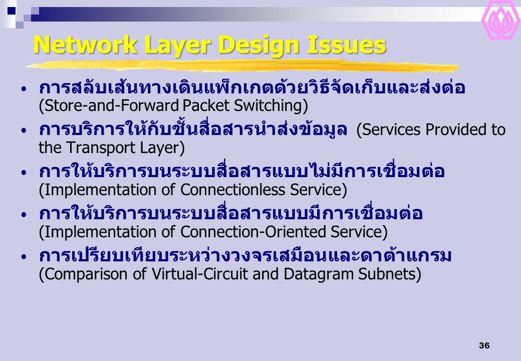 36 Network Layer Design Issues การสลับเส้นทางเดินแพ็กเกตด้วยวิธีจัดเก็บและส่งต่อ (Store-and-Forward Packet Switching) การบริการให้กับชั้นสื่อสารนำส่งข้อมูล (Services Provided to the Transport Layer) การให้บริการบนระบบสื่อสารแบบไม่มีการเชื่อมต่อ (Implementation of Connectionless Service) การให้บริการบนระบบสื่อสารแบบมีการเชื่อมต่อ (Implementation of Connection-Oriented Service) การเปรียบเทียบระหว่างวงจรเสมือนและดาต้าแกรม (Comparison of Virtual-Circuit and Datagram Subnets)