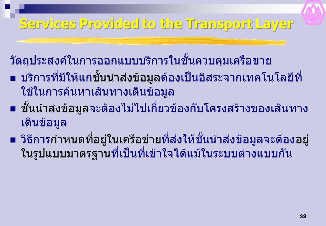 38 Services Provided to the Transport Layer วัตถุประสงค์ในการออกแบบบริการในชั้นควบคุมเครือข่าย บริการที่มีให้แก่ชั้นนำส่งข้อมูลต้องเป็นอิสระจากเทคโนโล