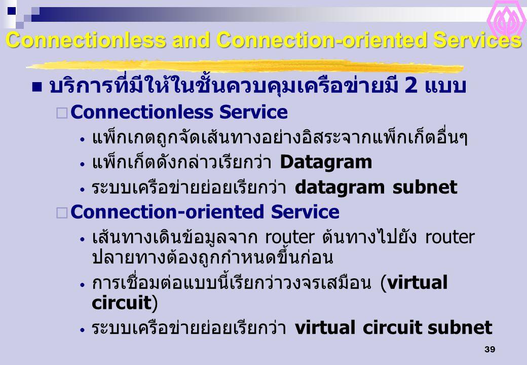 39 Connectionless and Connection-oriented Services บริการที่มีให้ในชั้นควบคุมเครือข่ายมี 2 แบบ  Connectionless Service แพ็กเกตถูกจัดเส้นทางอย่างอิสระจากแพ็กเก็ตอื่นๆ แพ็กเก็ตดังกล่าวเรียกว่า Datagram ระบบเครือข่ายย่อยเรียกว่า datagram subnet  Connection-oriented Service เส้นทางเดินข้อมูลจาก router ต้นทางไปยัง router ปลายทางต้องถูกกำหนดขึ้นก่อน การเชื่อมต่อแบบนี้เรียกว่าวงจรเสมือน (virtual circuit) ระบบเครือข่ายย่อยเรียกว่า virtual circuit subnet