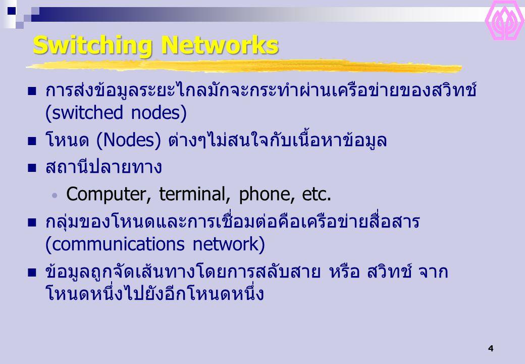 4 Switching Networks การส่งข้อมูลระยะไกลมักจะกระทำผ่านเครือข่ายของสวิทช์ (switched nodes) โหนด (Nodes) ต่างๆไม่สนใจกับเนื้อหาข้อมูล สถานีปลายทาง Computer, terminal, phone, etc.