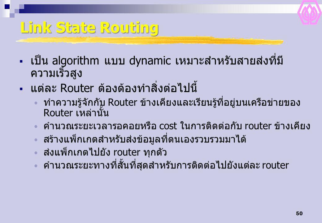 50 Link State Routing  เป็น algorithm แบบ dynamic เหมาะสำหรับสายส่งที่มี ความเร็วสูง  แต่ละ Router ต้องต้องทำสิ่งต่อไปนี้ ทำความรู้จักกับ Router ข้า