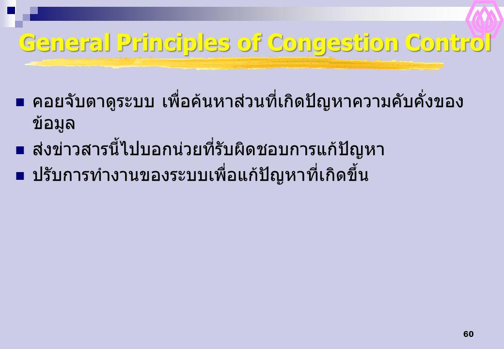 60 General Principles of Congestion Control คอยจับตาดูระบบ เพื่อค้นหาส่วนที่เกิดปัญหาความคับคั่งของ ข้อมูล ส่งข่าวสารนี้ไปบอกน่วยที่รับผิดชอบการแก้ปัญหา ปรับการทำงานของระบบเพื่อแก้ปัญหาที่เกิดขึ้น