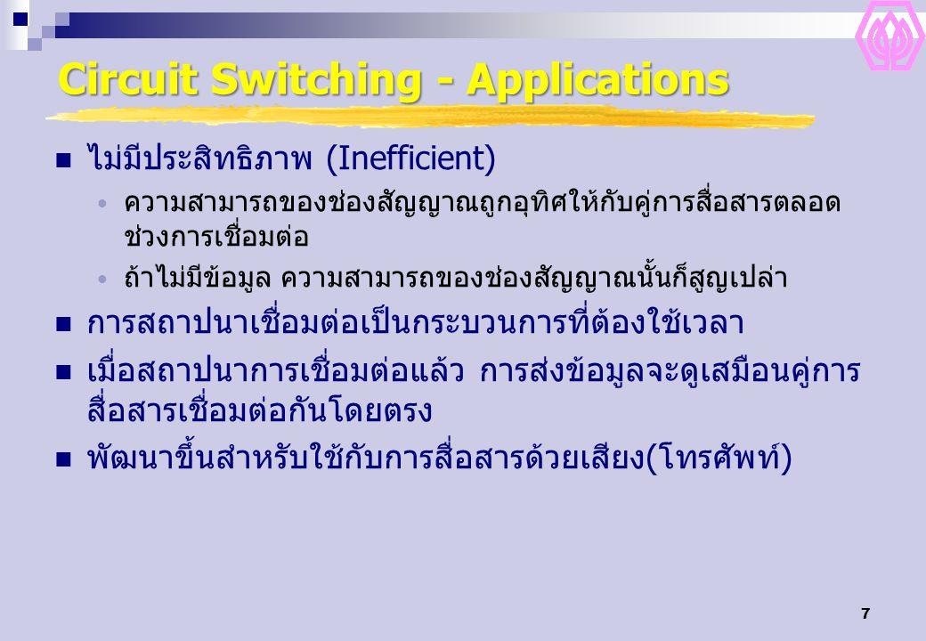 7 Circuit Switching - Applications ไม่มีประสิทธิภาพ (Inefficient) ความสามารถของช่องสัญญาณถูกอุทิศให้กับคู่การสื่อสารตลอด ช่วงการเชื่อมต่อ ถ้าไม่มีข้อม