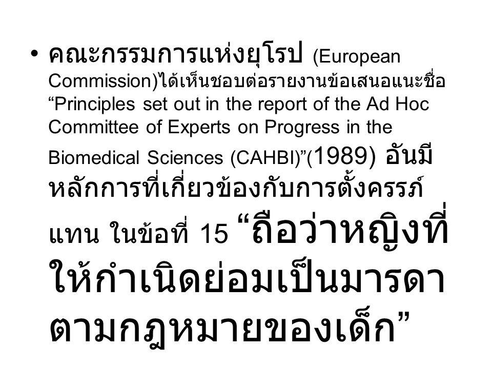 """คณะกรรมการแห่งยุโรป (European Commission) ได้เห็นชอบต่อรายงานข้อเสนอแนะชื่อ """"Principles set out in the report of the Ad Hoc Committee of Experts on Pr"""