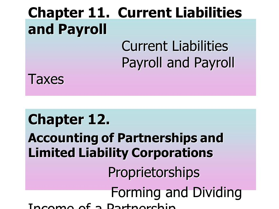 Chapter 11. Current Liabilities and Payroll Current Liabilities Payroll and Payroll Taxes Chapter 12. Accounting of Partnerships and Limited Liability