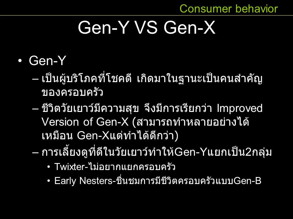 Gen-Y VS Gen-X Gen-Y – เป็นผู้บริโภคที่โชคดี เกิดมาในฐานะเป็นคนสำคัญ ของครอบครัว – ชีวิตวัยเยาว์มีความสุข จึงมีการเรียกว่า Improved Version of Gen-X (