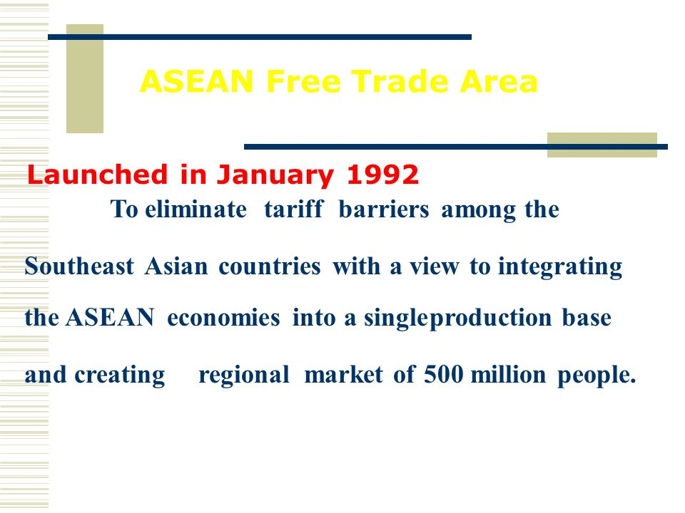 ECONOMIC INTEGRATION ASEAN GOAL: single market and single production base free flows of goods, services, investment, and skilled labors