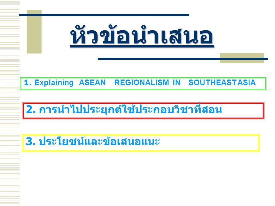 หัวข้อนำเสนอ 1.Explaining ASEAN REGIONALISM IN SOUTHEAST ASIA 2.