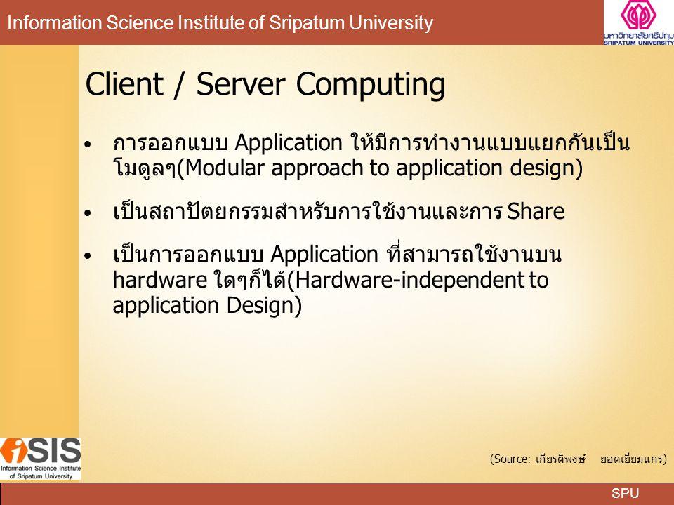 SPU Information Science Institute of Sripatum University Client / Server Computing การออกแบบ Application ให้มีการทำงานแบบแยกกันเป็น โมดูลๆ(Modular app