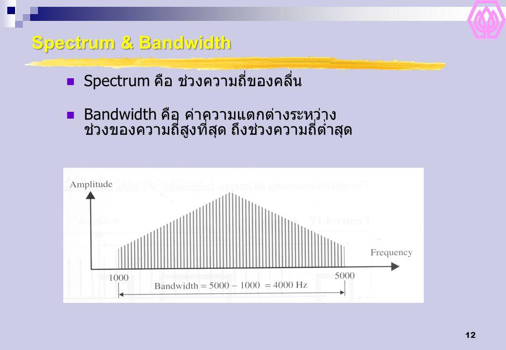 12 Spectrum & Bandwidth Spectrum คือ ช่วงความถี่ของคลื่น Bandwidth คือ ค่าความแตกต่างระหว่าง ช่วงของความถี่สูงที่สุด ถึงช่วงความถี่ต่ำสุด