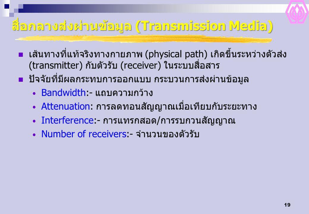 19 สื่อกลางส่งผ่านข้อมูล (Transmission Media) เส้นทางที่แท้จริงทางกายภาพ (physical path) เกิดขึ้นระหว่างตัวส่ง (transmitter) กับตัวรับ (receiver) ในระ