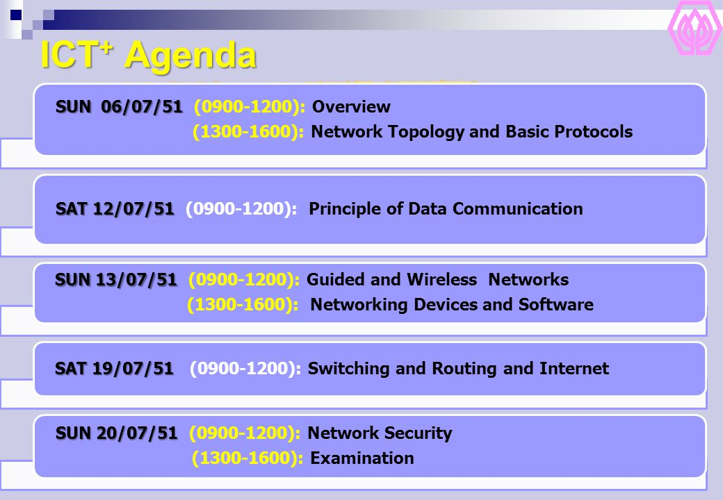 ICT + Agenda SUN 06/07/51 SUN 06/07/51 (0900-1200): Overview (1300-1600): Network Topology and Basic Protocols SAT12/07/51 SAT 12/07/51 (0900-1200): Principle of Data Communication SUN 13/07/51 SUN 13/07/51 (0900-1200): Guided and Wireless Networks (1300-1600): Networking Devices and Software SAT 19/07/51 SAT 19/07/51 (0900-1200): Switching and Routing and Internet SUN 20/07/51 SUN 20/07/51 (0900-1200): Network Security (1300-1600): Examination
