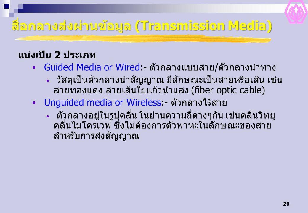 20 สื่อกลางส่งผ่านข้อมูล (Transmission Media) แบ่งเป็น 2 ประเภท  Guided Media or Wired:- ตัวกลางแบบสาย/ตัวกลางนำทาง วัสดุเป็นตัวกลางนำสัญญาณ มีลักษณะ