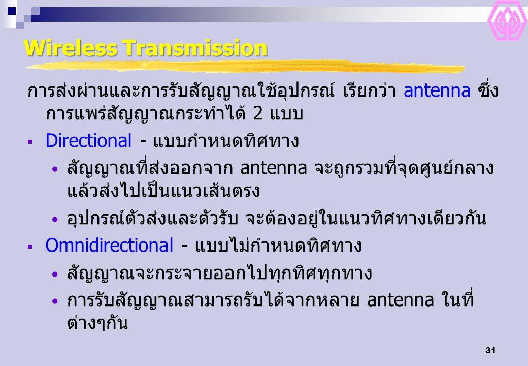 31 Wireless Transmission การส่งผ่านและการรับสัญญาณใช้อุปกรณ์ เรียกว่า antenna ซึ่ง การแพร่สัญญาณกระทำได้ 2 แบบ  Directional - แบบกำหนดทิศทาง สัญญาณที
