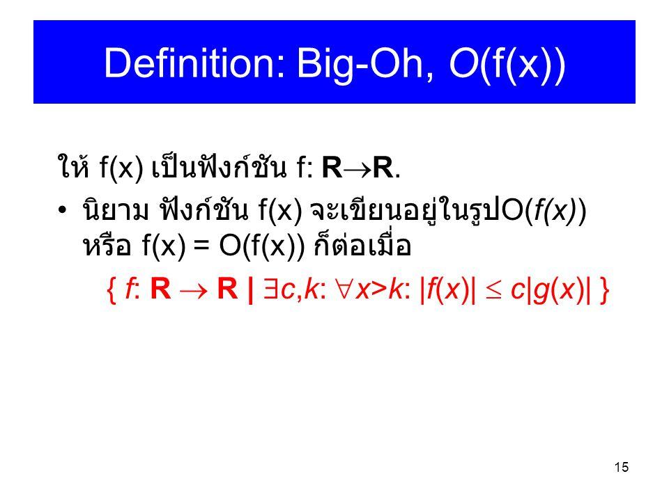 15 Definition: Big-Oh, O(f(x)) ให้ f(x) เป็นฟังก์ชัน f: R  R. นิยาม ฟังก์ชัน f(x) จะเขียนอยู่ในรูป O(f(x)) หรือ f(x) = O(f(x)) ก็ต่อเมื่อ { f: R  R